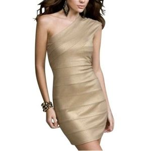 Express One Shoulder Gold Body Con NWT